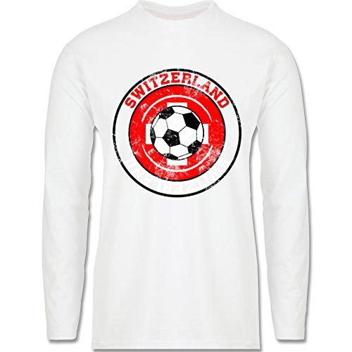 EM 2016 - Frankreich - Switzerland Kreis & Fußball Vintage - Longsleeve / langärmeliges T-Shirt für Herren Weiß