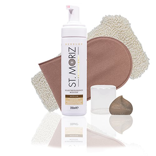 St Moriz Self Tanning Mousse Medium 200ml inkl. Zubehoer (Medium Mousse + Horn Medical Applikator + Sisal-Peelinghandschuh)