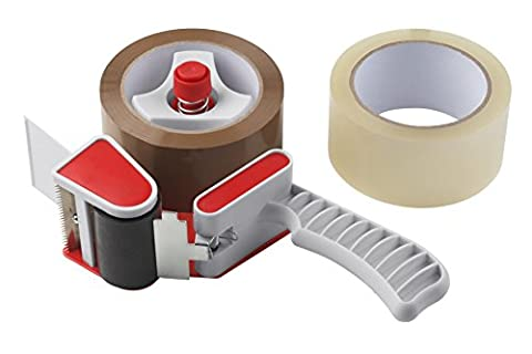 Meister Packing Tape Set ✓ Handabroller ✓ Replaceable Glue Dots ✓ 66m x 55mm ✓ Abreißv Hitch | Roll Aid | Heavy Duty Box Sealing Packing Tape Roller/Bandabroller/Parcel/Packing