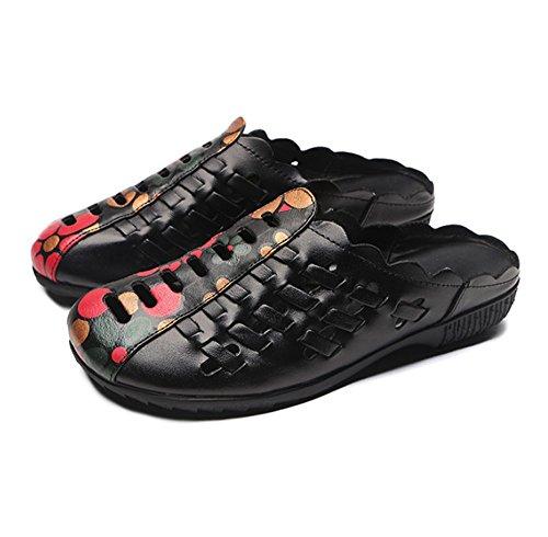 HAOYUXIANG Handgemachte Leder Mutter Hausschuhe Rechtschreibung Retro hohlen flachen Boden nationalen Wind Hausschuhe weibliche übergroße Yards Schuhe (Farbe : Rot, größe : 41)