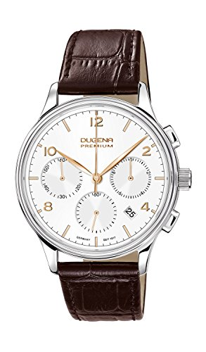 Dugena Herren-Armbanduhr Minor Chronograph - Traditional Classic Analog Quarz Leder 7000242