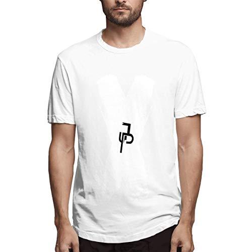 JakePaul X Logo Herren Kurzarm Shirts T Sport Cool T Shirt Tees Mode Lässig (L,Weiß) -