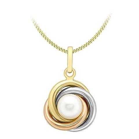 Carissima Gold Damen-Kette mit Anhänger 375 Tricolor Perle Weiß Süßwasserperlen Weiß 46 cm -