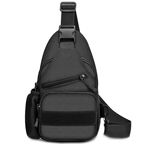 Selighting Taktisch Umhängetasche Militär Sling Rucksack Crossbody Bag mit USB-Ladeanschluss und Flaschenhalter für Trekking Camping Wandern Reisen (Schwarz) -