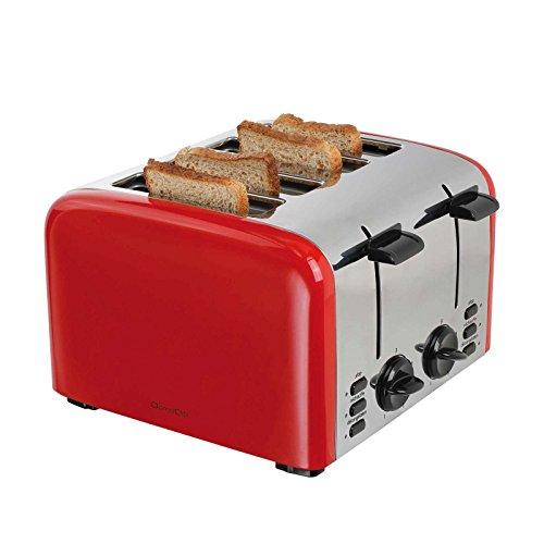 Edelstahl 4-Scheiben Toaster Brötchenaufsatz 1500 Watt Großer Toastautomat (5 Stufen, Krümelschublade, Aufwärmfunktion, Kontrollleuchten, Retro, Rot)
