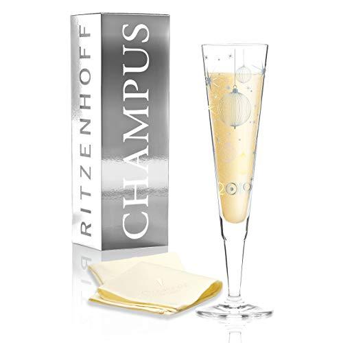 RITZENHOFF Champus Jahrgangs-Champagnerglas 2019 von Concetta Lorenzo, aus Kristallglas, 200 ml, mit edlen Platinanteilen, inkl. Stoffserviette
