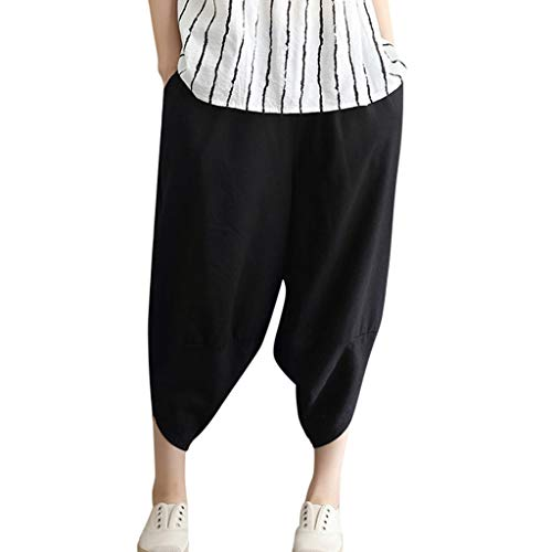WOZOW Harem Pants Damen Capri Bettwäsche Baumwolle Hippie Solid Einfarbig Irregular Bloomers Casual Loose Long High Waist Saggy Crop Trousers (M,Schwarz) -
