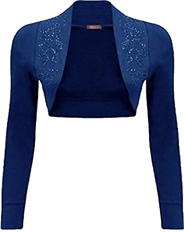 Mix lot New Ladies trendy fancy Long Sleeve beaded Shrug Bolero Top Different colors plus size casual/party wear size 8-22 (M/L 12-14, Royal