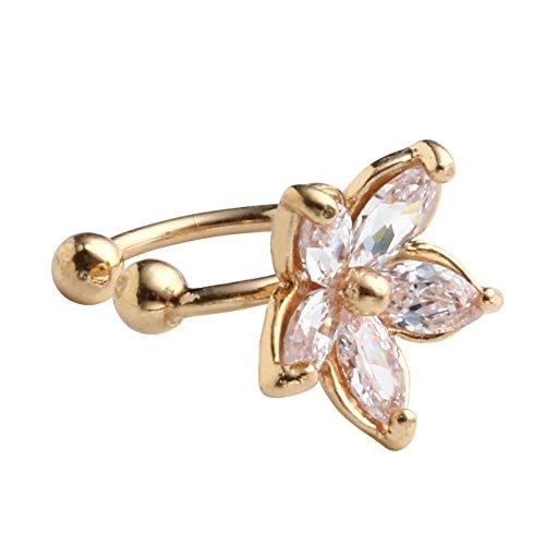JSDDE Damen Zirkon Blume Tragus Ohrklemme Helix Ohrclip Ear Cuff Wrap U Form Ohr Clip Ohne Stecker (Golden)