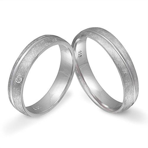 Juwelier Schönschmied - Zwei Partnerringe Verlobungsringe Eheringe Freundschaftsringe Silber Zirkonia inkl. persönliche Lasergravur 62-66 LANrS3HD - Si