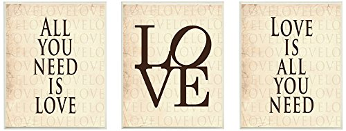 Stupell Home Décor Kunstdruck All You Need is Love, 10 x 0,5 x 15, 3-teilig -