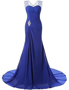LaoZan Abito Sirena Donna Vestiti Lunghi Senza Maniche Da Sera Cerimonia Abito Coctail Dress Blu 4XL