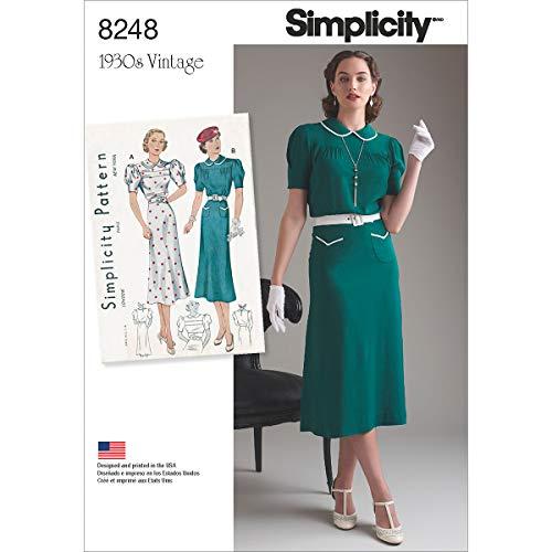 Simplicity Pattern 8248P5Misses 'Vintage 1930-Cartamodello per Abiti da Ragazza, Bianco, Misure 12-14-16-18-20