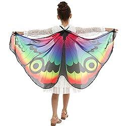 INLLADDY Kinder Schmetterling Schal Mädchen Jungen Weiche Gewebe Schmetterlingsflügel Schal Cosplay Kostüm Zusatz Regenbogen Umhang mit Gurt Karneval Parade Mehrfarbig 117x47CM