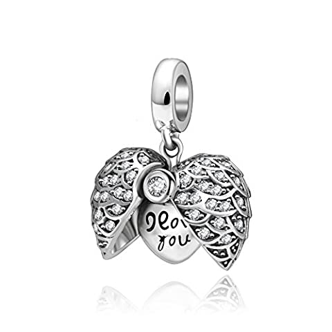 I love you to the moon and back Herz Charm massiv 925 Sterling Silber Winkel Flügel Kristall baumeln Charms (Anhänger Pandora Armband)