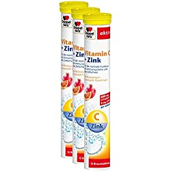 Doppelherz Vitamin C + Zink Brausetabletten – Nahrungsergänzungsmittel mit Zink zur Unterstützung des Immunsystems und zur Erhaltung normaler Haut – 3 x 15 Brausetabletten