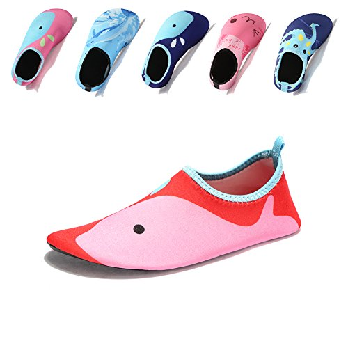 Laiwodun Kleinkind Schuhe Schwimmen Wasser Schuhe Mädchen Barefoot Aqua Schuhe für Beach Pool Surfen Yoga Unisex (2-24-25) (Rutschfeste Schuhe Kinder)