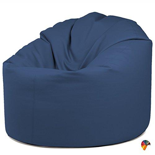Arketicom DILETTA Poltrona Sacco Diametro 110 x H 90 Sfoderabile Poltrona Relax Poltrona Gaming o da Giardino di Design Moderno da Salotto in Palline di Polistirolo (Puff Pouf puf) Blue Notte
