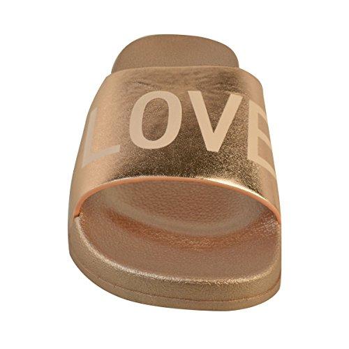 Donna Basse passanti casual LOVE PANTOFOLE SANDALI SLIP-ON SCARPE PUMP Taglia rosa dorato metallizzato