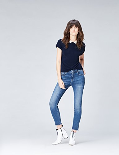 Find Damen T-Shirt mit Kragen Blau (Navy/ivory)