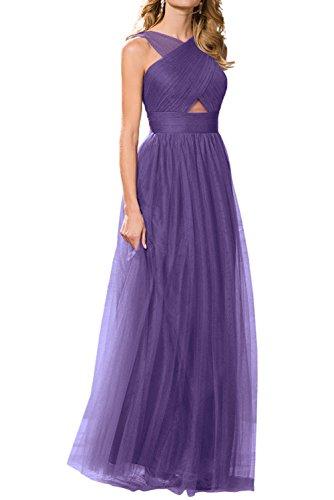 La_Marie Braut Traube Einfach Tuell Brautjungfernkleider Abendkleider Promkleider Prinzess A-linie Rock Lila