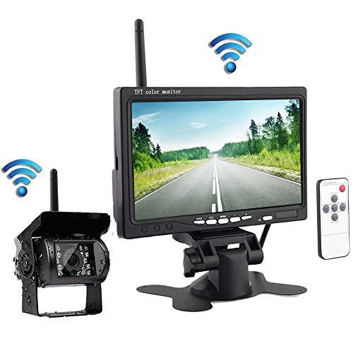 Cámara de respaldo inalámbrica podofo con monitor de visión trasera Cámara infrarroja...