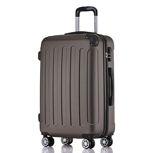 BEIBYE Hartschalen-Koffer Trolley Rollkoffer Reisekoffer Handgepäck 4 Rollen (M-L-XL-Set) (Coffee, XL)