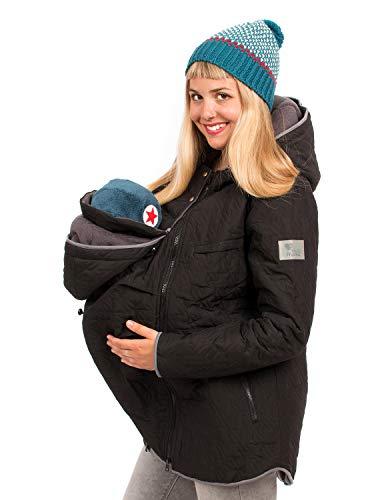 Viva la Mama 3in1 Umstandsmode Tragejacke mit Einsatz Winterumstandsjacke Damen Wintermantel schwanger Nevada schwarz - S