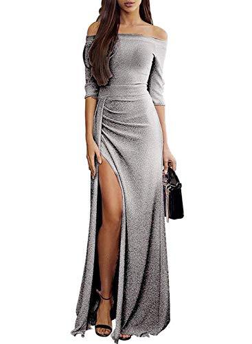 119476e899ab DaiWeiDress Donna Vestito da Festa con Spalla Alta Fessura Increspato 3 4  Manica Lunga Brillante