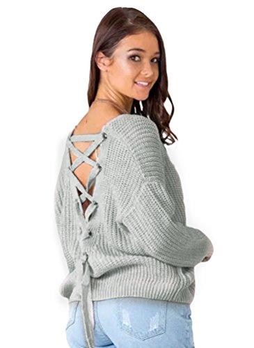 YAANCUN-Donna-Design-Hollow-V-collo-Profondo-Camicia-Manica-Lunga-Felpa-Maglione-Cappotto-Pullover-Grigio