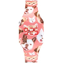 Reloj LED Digital chica, infantil y joven, de pulsera, correa de suave silicona, trendy regalo, cachorros Kiddus KI10205