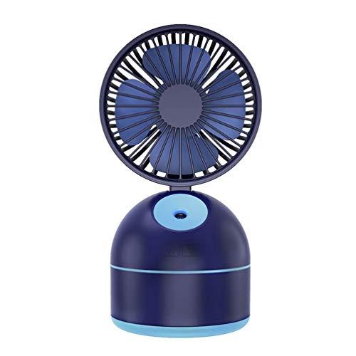 DS Kleiner tragbarer Tisch-Tischventilator, USB-Lade-persönlicher Luftkühler-faltender Ventilator mit Spray-Feuchtigkeits-Befeuchter-Turmventilator verwendbar für Arbeit/Reise (Color : Blue)