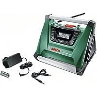 Bosch Radio a batería PRA Multipower, sin batería, Cable Aux-In, fuente de alimentación, 2 pilas AAA (18V, Gama de radiofrecuencia AM 522 – 1.611 kHz)