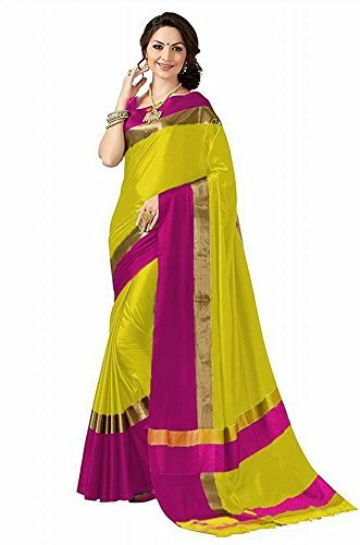 High Glitz Fashion Women's Yellow & Pink Colour Poly Cotton Saree With...