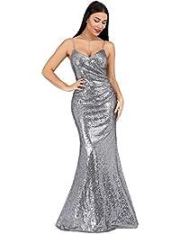 c199e586955f Ever-Pretty Vestito da Cocktail Sera Lungo Donna con Paillettes Scollo a V  Bretelle Regolabile