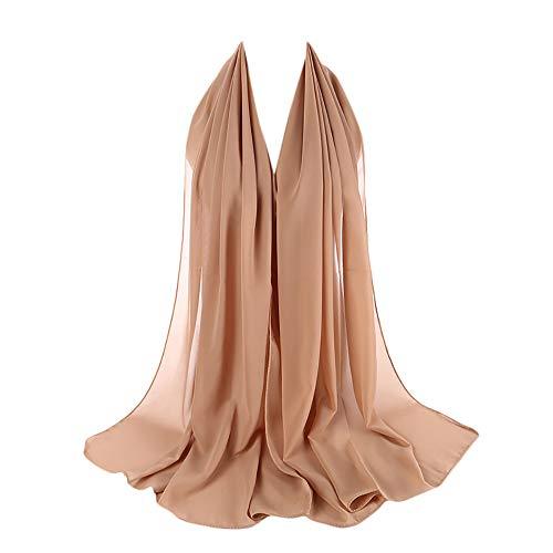 Xmiral Damen Plain Bubble Elegant Chiffon Schal Schals Stirnband Muslim Hijab Abendkleid Braut...