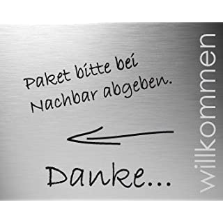 DOOR TALK Türschild Edelstahl WILLKOMMEN selbstklebend, beschriftbar, Artikel Design