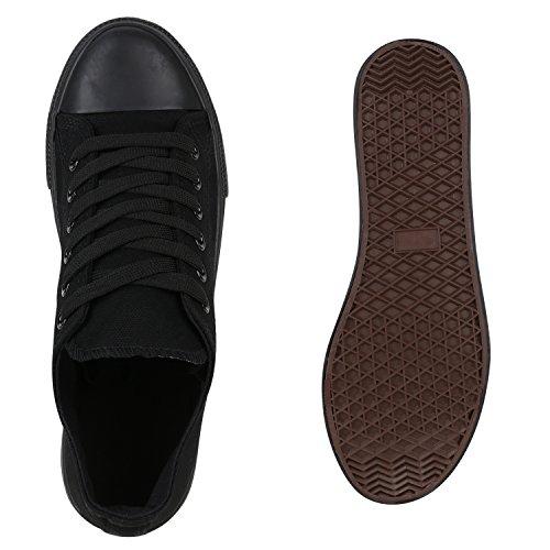 Damen Sneakers Low Canvas Turnschuhe Basic Freizeit Schuhe Schwarz