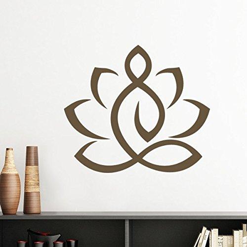 Buddhismus Religion Buddhistische Lotus-Figur einfach Line Zeichnen Illustration Muster Silhouette abnehmbarer Wandtattoo Kunst Aufkleber Wandbild DIY Tapete für Raum Aufkleber 60cm schwarz