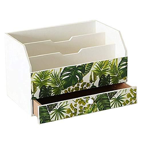 Home collection casa decorazione arredamento accessori scatola in legno con scompartimenti portacarte con cassetto motivo foglie palme monstera philodendron