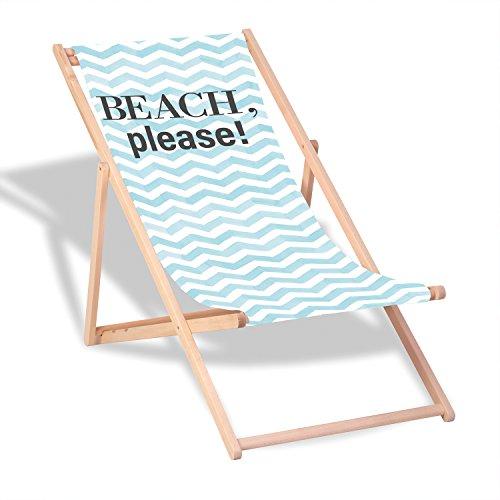 """Queence Dekorativer Holz-Liegestuhl   """"Beach, Please""""   klappbar   Gartenliege   Strandliege   Sonnenliege   Gartenmöbel   120x60 cm   Verschiedene Motive, Größe:ca. 120x60 cm"""