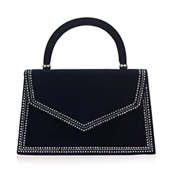 Womens Navy Blue Diamante Velvet Chain Strap Ladies Hard Case Small Clutch Handbag Bag