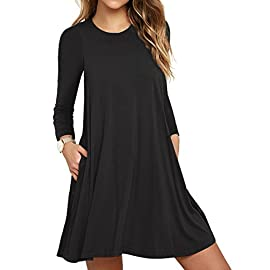 LILBETTER Womens Round Neck Sleeves A-Line Casual T Shirt Dress With Pocket