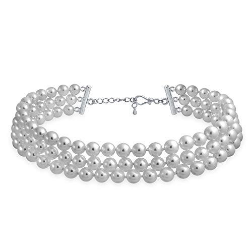 Braut Simulierte graue Perlen Drei Strand Rhodium überzog Choker 13