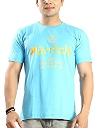 Particle T Shirt For Men - Round Neck Sky Blue Half Sleeve Cotton Tshirt