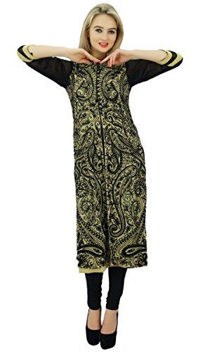 Bimba droit paisley brodé à manches 3/4 tunique blouse indienne femmes Kurti ethnique Noir