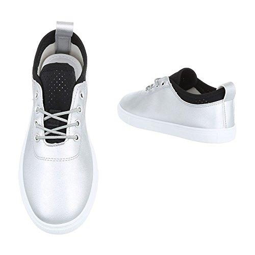 Low-Top Sneaker Damenschuhe Low-Top Sneakers Schnürsenkel Ital-Design Freizeitschuhe Silber 472-Y