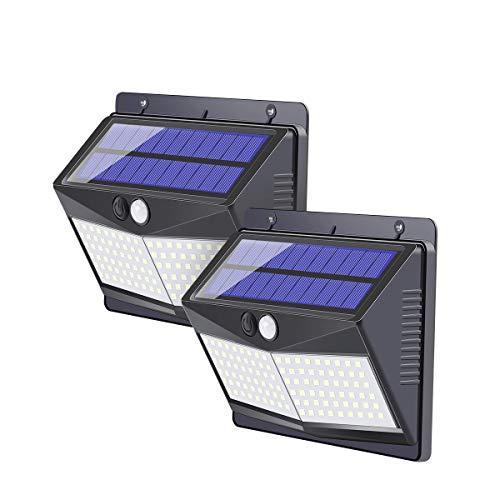 Solarlampen für Außen,【2000mAh Super Energiesparend】108 LED Solarleuchte mit Bewegungsmelder Solar Beleuchtung LED 270° Solar Wasserdichte Wandleuchte 3 Modi Solarlicht für Garten-2 Stück