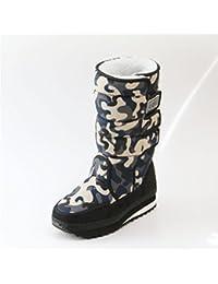 DYF Chaussures Femmes Bottes Courtes à Tête Ronde de Couleur Solide élastique Talon Rugueux,Rose,34