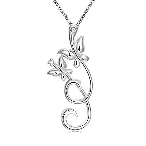 AMDXD Bijoux Plaqué argent pendentif Colliers pour femme Papillon Argenté Collier de fleurs